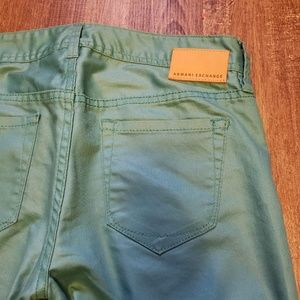 Armani Exchange Jeans - ARMANI AX LUX COATED MUTED TEAL GREEN JEANS SZ 2
